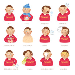 Illness disease people symptoms vector flat isolated icons heat, cold and ache