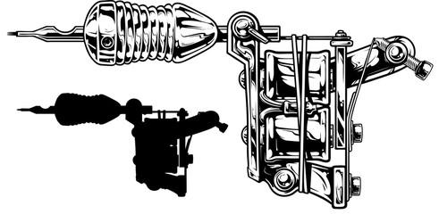 Graphic black and white tattoo machine set. Vol. 3