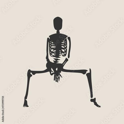 Human skeleton posing  Vector illustration  Halloween party