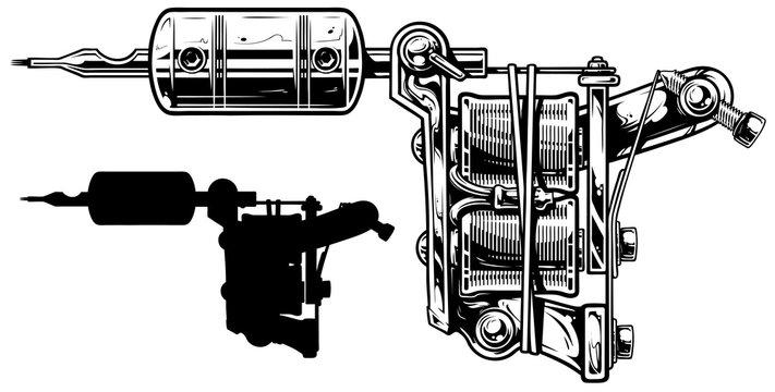 Graphic black and white tattoo machine set. Vol. 4