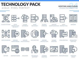 Hosting and Cloud Icons Set. Technology outline icons pack. Pixel perfect thin line vector icons for web design and website application.
