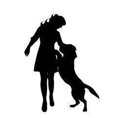 Vector silhouette of woman with dog in white background.