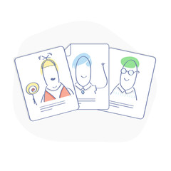 Flat line illustration hr concept of business hiring and recruiting. Selection of an employee from several resumes. Cute cv with cartoon faces. Isolated vector.