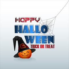 Holiday, design background with 3d texts, happy pumpkin wearing the witch's hat and spider web for Halloween, event celebration; Vector illustration