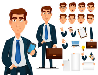 Business man in formal suit, cartoon character creation set.