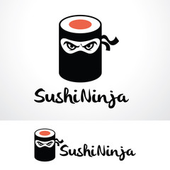 Sushi Ninja Logo Template Design Vector, Emblem, Design Concept, Creative Symbol, Icon