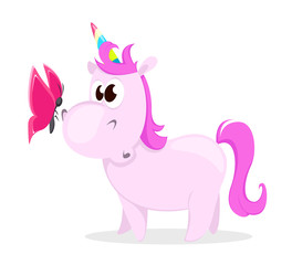 Funny pink unicorn with butterfly. Cute magic fantasy animal with rainbow horn isolated on white background. Vector illustration