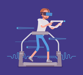 VR man with aim controller on gaming treadmill