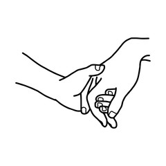 hand of lover holding with love vector illustration sketch hand drawn with black lines, isolated on white background