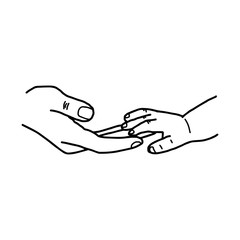 hand of baby and mother touching together vector illustration sketch hand drawn with black lines, isolated on white background