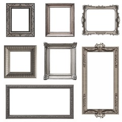 Set of silver  frames isolated on white