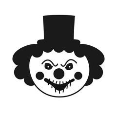 Scary clown cartoon isolated. Clown scary face. Vector stock.