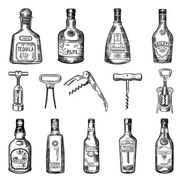 Illustrations of corkscrew and different wine bottles