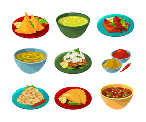 Vector pictures of indian national cuisine