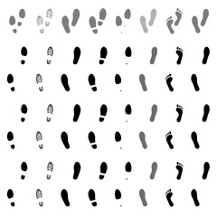 Footsteps. Footprints. Shoe and bare foot print. Shoes imprints set. Foot trail. Vector