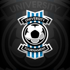 University tournament, soccer logo.