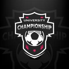 University championship, soccer logo.