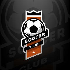 Soccer club logo, on a dark background.