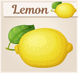 Whole lemon fruit illustration. Vector icon