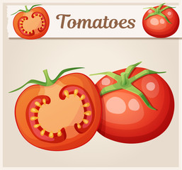 Whole and half of tomato vegetable. Cartoon vector icon. Series of food and drink and ingredients for cooking