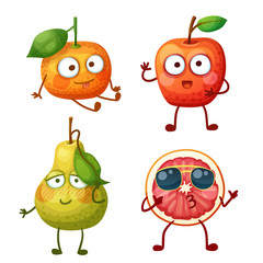 Funny fruit characters isolated on white background. Cheerful food emoji. Cartoon vector illustration: cute tangerine, red apple, shy green pear, cool grapefruit slice