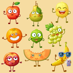 Funny fruit characters isolated on white background. Cheerful food emoji. Cartoon vector illustration: green pear, red apple, selfie banana, lime, orange, white grape, melon slice, lemon, nectarine