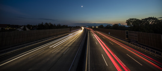 Spoed Foto op Canvas Nacht snelweg light trace from busy night traffic on the highway