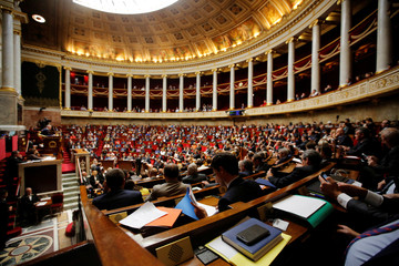 General view of the hemicycle during the questions to the government session at the National Assembly in Paris