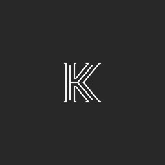 Letter K logo medieval monogram black and white, minimal thin lines initial elegant design element template