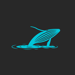 A humpback whale jump out water, silhouette of a blue whale with ripples on water, an illustration freedom animal. T-shirt print emblem or logo for a naturally protective organization or foundation.