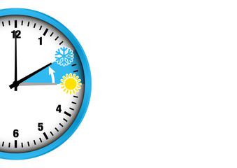 Winterzeit halbe Uhr Zahlen Anschnitt blau