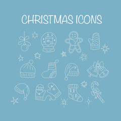 Set of thin line vector Christmas icons. Collection of Christmas symbols modern designs.