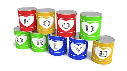 Nine stacked tin cans in different colors charity concept