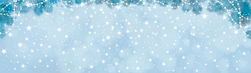 Vector blue lights, stars  background with fir tree border and decorations.