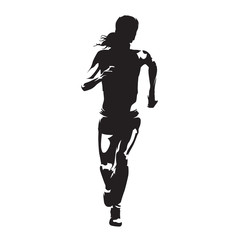 Running woman, abstract vector silhouette, front view