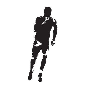 Runner isolated vector silhouette, front view