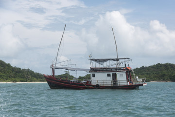 Fishing boat in the sea, Koh Mat Sum Island, Koh Samui, Surat Thani Province, Thailand
