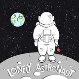 Lonely Astronaut Vector Illustration Vintage Style Cartoon Of Alone On The Moon