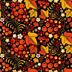 Khokhloma seamless pattern in slavic folk style