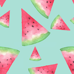 Seamless background with watermelon slices. Hand drawn watercolor. design for greeting card and invitation of seasonal summer holiday.