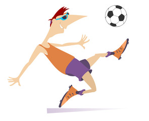 Smiling young man playing football isolated. Cartoon football player kicks a ball
