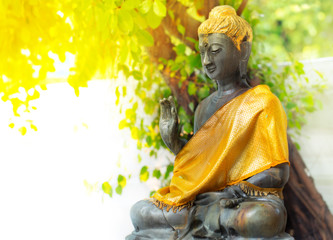 buddha in blurred natural background, vintage lighting style