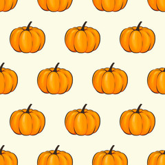 Pumpkin isolated seamless wallpaper pattern wrap cartoon style. Vector illustration on Autumn and Celebration for Thanksgiving for your projects