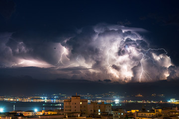 Electrical storm over the city by night - Cagliari 23/09/2017