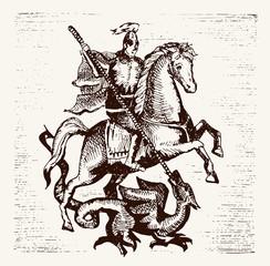 Hand drawn Saint Georgi. Vector illustration. warrior knight on horse slaying the dragon with a spear