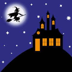 witch on a broomstick flies to the castle
