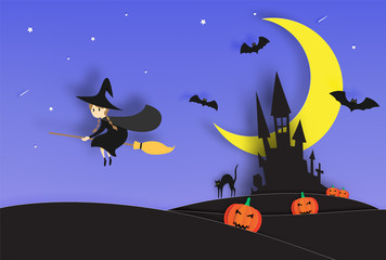 Witch on the broom paper art style with smile pumpkin in the background for halloween party