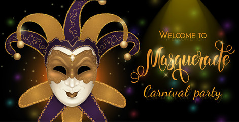 Gold carnival mask with shiny texture. Carnival hand drawn lettering. Invitation card template. Vector illustration EPS10. Wall mural
