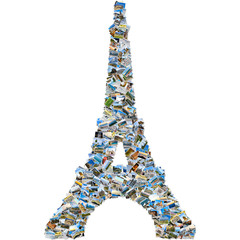 Photo collage of travel photos - mosaic Eiffel tower