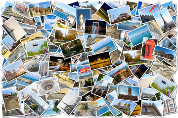 Collage of travel images - pile of photos